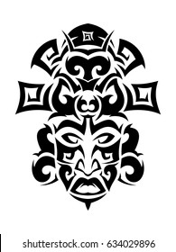 Ethnic mask icon or inca flat mask. Tribal ethnic mask vector illustration