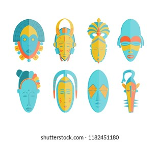 Ethnic masks set in Vector illustration. African tribal mask icon collection (CI)