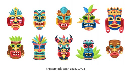 Ethnic masks. Traditional ritual, ceremonial tribal mexican indian or african colorful masks, aboriginal zulu or aztec idols with ethnic ornament, polynesian or mayan culture wooden symbol vector set
