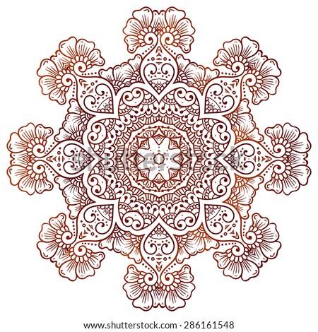 91fa6218b Ethnic mehndi Circular floral ornament Mehndi Henna Tattoo Mandala, Yantra  brown. Vintage vector banner