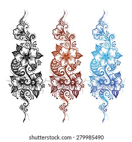 ethnic mehndi Floral ornament set Mehndi Henna Tattoo black, brown, blue. Vintage element on a white background. Vector background for invitations, wedding and greeting cards.