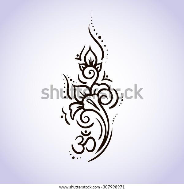 Ethnic mehndi Lotus flower pattern line on isolated background. Logo for Yoga Studio, Spa, India style, om. Vector illustration