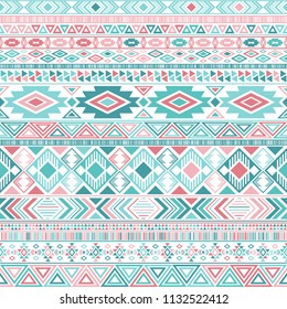 Ethnic mexican tribal motifs american indian pattern seamless background vector geometric design. Clothes fabric, fashionable textile print with ethnic mayan motifs, aztec symbols in pink sea green
