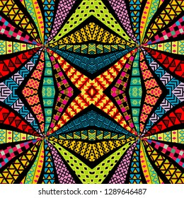 Ethnic motifs kaleidoscope pattern, patchwork style