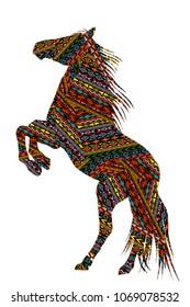 Ethnic motifs patterned  bucking horse on white background