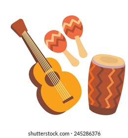 Ethnic musical instruments set: acoustic guitar, maracas and drum cartoon flat style, isolated color vector art illustration icon.
