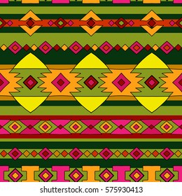 Ethnic native peru pattern, bright bohemian seamless pattern