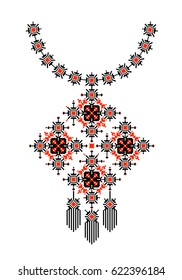 Ethnic necklace embroidery, traditional pixel tribal design, jewelry or fabric element of folk indian culture, vector illustration on white background