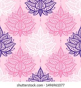 Ethnic Oriental Mehndi Lotus Flower Symbol, Seamless Pattern. Pink Purple and White Ornamental Floral Pattern Vector Background