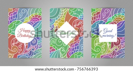 Ethnic ornamental set birthday thank you stock vector royalty free ethnic ornamental set of birthday thank you and good morning greeting cards with tribal style m4hsunfo