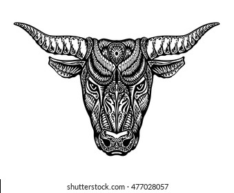 Ethnic ornamented bull, ox or minotaur, taurus. Vector illustration