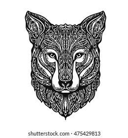 Ethnic ornamented fox or dog. Vector illustration