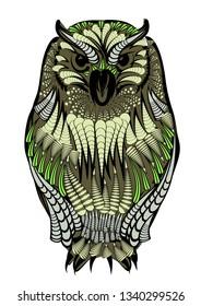 ethnic owl isolated on a white background