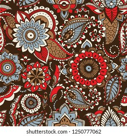 Ethnic paisley pattern with buta motifs and traditional Arabic floral mehndi elements on dark background. Motley decorative vector illustration for textile print, wallpaper, wrapping paper, backdrop.