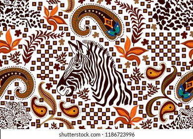 Ethnic paisley pattern with zebra print and leopard spots. Safari textile design collection. On white background.
