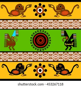 Ethnic pattern of American Indians: Aztecs, Mayans, Incas. Monkey, eagle, sun. Decor in the Mexican style. Vector illustration.