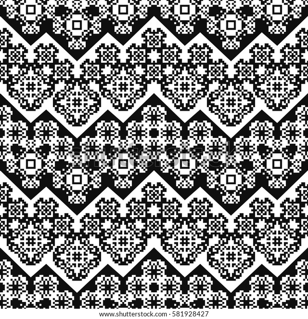 Ethnic pattern with dotted flowers. Tribal ornament plaid. Navajo background. Textile geo print. Abstract floral seamless swatch