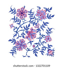 Ethnic pattern element in kalamkari style, fantasy floral pattern. Colored vector illustration.