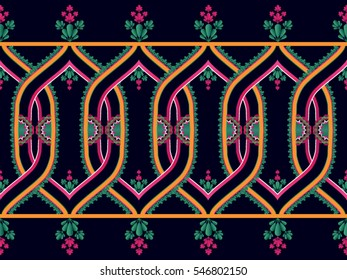 Ethnic  pattern floral seamless traditional Design for background,carpet,wallpaper,clothing,wrapping,Batik,fabric,Vector illustration embroidery style.