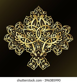 Ethnic pattern in gold and black colors. Oriental decorative elements. Boho style vector illustration.
