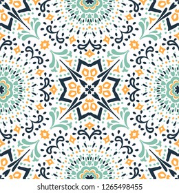 Ethnic pattern. Mediterranean seamless wallpaper. Portuguese tile. Turkish ornament on the carpet. Moroccan mosaic. Spanish porcelain. Ceramic dishes, folk print. Spanish Talavera. Ornate rug.