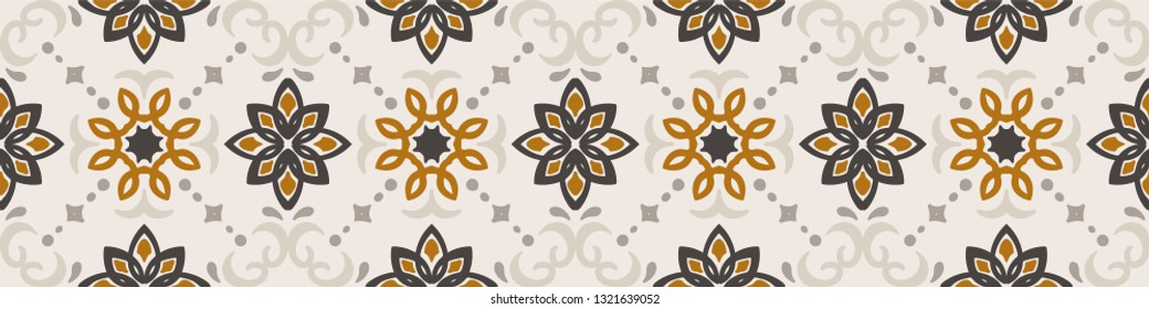 Ethnic pattern. Mediterranean seamless wallpaper. Portuguese Azulejo. Turkish ornament, Moroccan mosaic. Spanish porcelain. Ceramic dishes, folk print. Tile design. Indian patchwork.