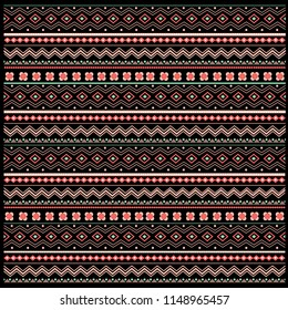 Ethnic pattern on black background. Seamless tribal pattern with doodle elements. Aztec abstract geometric print