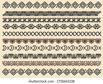 Ethnic pattern. Set. Handmade. Horizontal stripes. Black and white print for your textiles. Vector illustration.