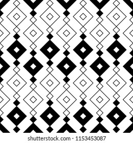 Ethnic pattern. Tribal motif. Rhombuses ornate. Embroidery ornament. Diamonds. Geometric figures background. Digital paper abstract, textile print, surface texture, web design. Seamless vector art.