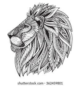 Ethnic patterned ornate hand drawn head of Lion. Black and white doodle vector illustration. Sketch for tattoo, poster, print or t-shirt.