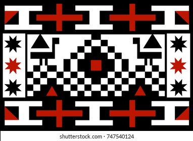 Ethnic patterns of Native Americans: Alaska Indians,  the Aztec, Inca, Maya, (Mexico, Ecuador, Peru). Vector illustration.