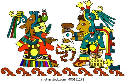 Ethnic patterns of Native Americans: the Aztec, Inca, Maya, Alaska Indians (Mexico, Ecuador, Peru). Indian priest passes the hot chocolate. Vector illustration.