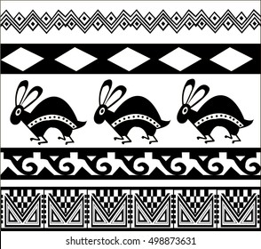Ethnic patterns of Native Americans: the Aztec, Inca, Maya, Alaska Indians (Mexico, Ecuador, Peru). Drawing in the Mexican style. rabbit. Vector illustration.