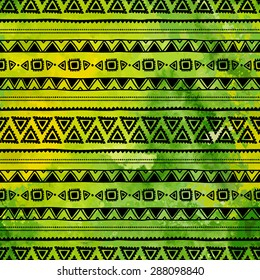 Ethnic patterns painted by hand. Watercolor texture. Vector seamless pattern. Green and black colors.