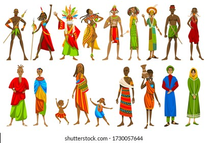 Ethnic people of African tribes in traditional clothing, set of isolated cartoon characters, vector illustration. Exotic culture, different countries in Africa, slim man and woman in national costumes