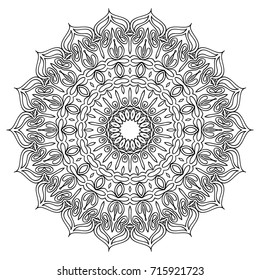 Ethnic Print. Adult Coloring Page. Mandala Pattern for Coloring and Meditation. Complicated Round Snowflake