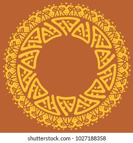 Ethnic round frame, logo template. Tribal hand drawn circle design elements for branding, badge, poster, apparel print, sticker or labels.