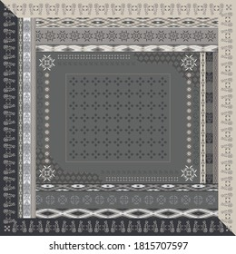 Ethnic scarf pattern ornament design for hijab on gray color background
