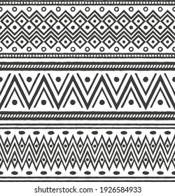 Ethnic seamless borders set with geometric shapes. Can be used like a final pattern. Flat, monochromatic, vector.