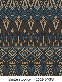 Ethnic seamless pattern with american indian traditional ornament in brown colors. Tribal background. Aztec design for fabric. Print of native american art.