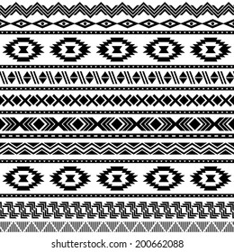 Ethnic seamless pattern. Aztec black-white background. Vector illustration.