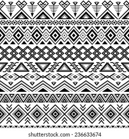 Ethnic seamless pattern. Aztec black-white background. Tribal, ethnic, navajo print. Modern abstract wallpaper. Vector illustration.
