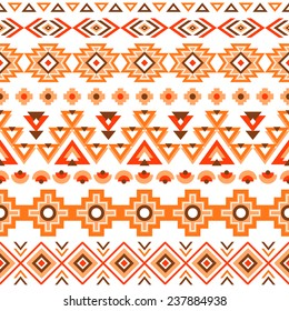 Ethnic seamless pattern. Aztec colorful striped geometric background. Tribal, ethnic, navajo print. Modern abstract wallpaper. Soft colors. Vector illustration.