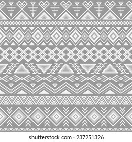 Ethnic seamless pattern. Aztec gray background. Tribal, ethnic, navajo print. Modern abstract wallpaper. Vector illustration.