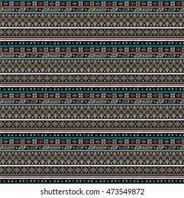 Ethnic seamless pattern. Boho print. Old background texture. Pixel, dots. Geometric shapes. Wallpaper