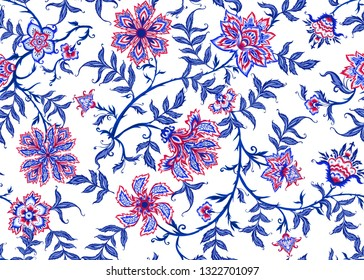 Ethnic seamless pattern in kalamkari style, fantasy floral pattern. Colored vector illustration without gradients and transparency.  Isolated on white background.