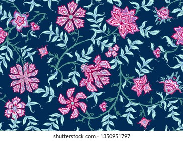 Ethnic seamless pattern in kalamkari style, fantasy floral pattern. Colored vector illustration without gradients and transparency.  On navy blue background.