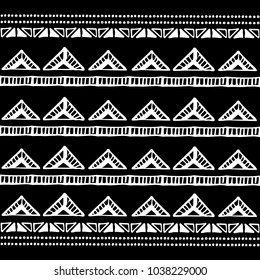 Ethnic seamless pattern in native style. Tribal vector seamless pattern with native American Indian symbols. Boarder pattern. Hand-drawn indian background vector. Native american tent pattern