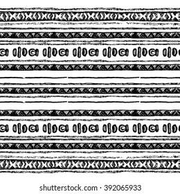 Ethnic seamless pattern in native style. Tribal vector seamless pattern with native American Indian symbols. Boarder wigwam pattern. Hand-drawn indian background vector. Native american tent pattern