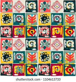 Ethnic seamless pattern. Tribal art print. Abstract geometric background. Tile, patchwork. Fabric design